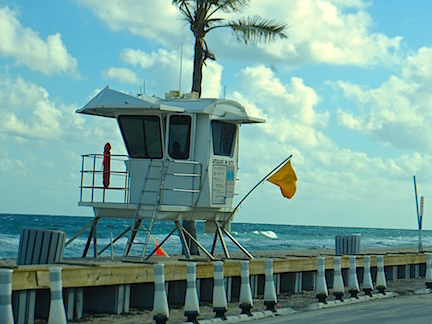 The high wind and rough seas warning flags were out on the lifeguard towers.
