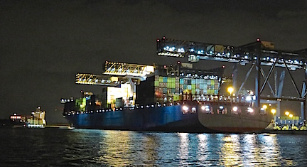 Cargo loading in Port Everglades goes on all night.