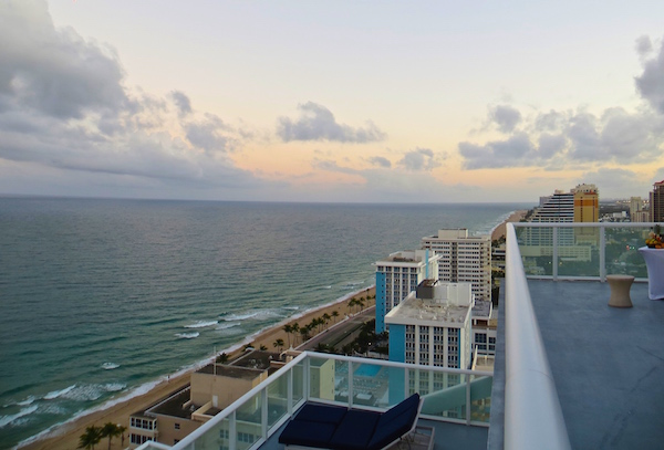 The beach to the south ends at Port Everglades