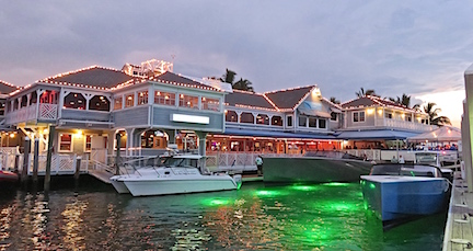 Green lights in the water make docking at 15th St. Fisheries cool.