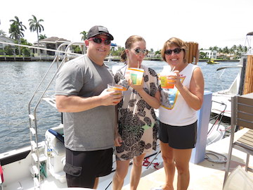 The rum bucket trio cool down at the restaurant in Lighthouse Point.
