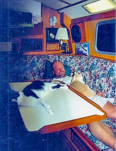 Captain Ross Ryan takes a catnap.