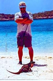 Capt. Ryan and iguana.