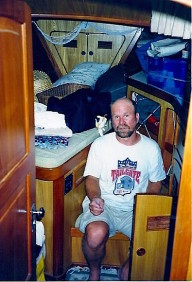 Ross in the V-berth on Escape