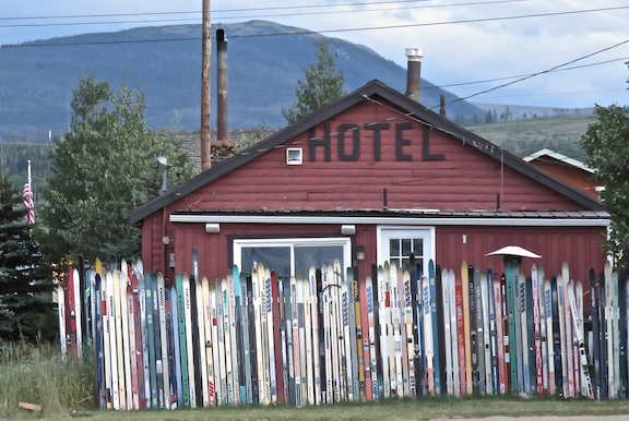 Just across the way from Crooked Creek Saloon is a shining example of what to do with old skis.