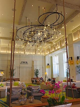Margarita glasses in lounge area