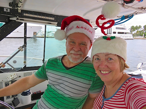 Captain Jeff at the helm with Mrs. Clause after her costume change.