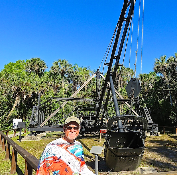 This walking dredge, built in Bay City Michigan, was used to build parts of the Tamiami Trail in 1924. It is the last of 145 walking machines built. It dug the canal that provided rock for the roadbed, while pulling itself alongside the road. It worked in swampy, slippery ground where other excavators could not function.