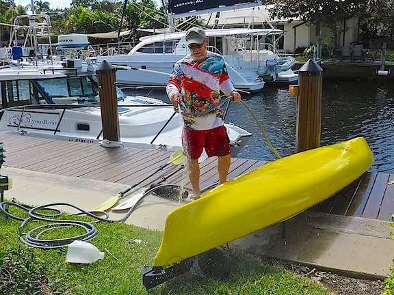Our first outing was short, but we saw dozens of manatees and got the hang of operating a 17' boat with a pedal operated rudder. The banana boat is a fun addition to the fleet. It may be plastic, but you still have to hose off the salt.