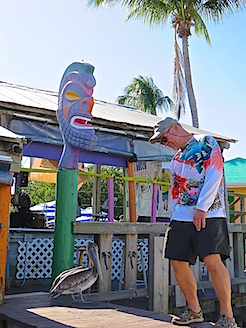 We made a lunch run across the open Gulf waters to Stan's Idle Hour in Goodland on Marco Island. Stan's had live music and served up some tasty food that even the pelicans thought was great. I refused to share a beer with this one.