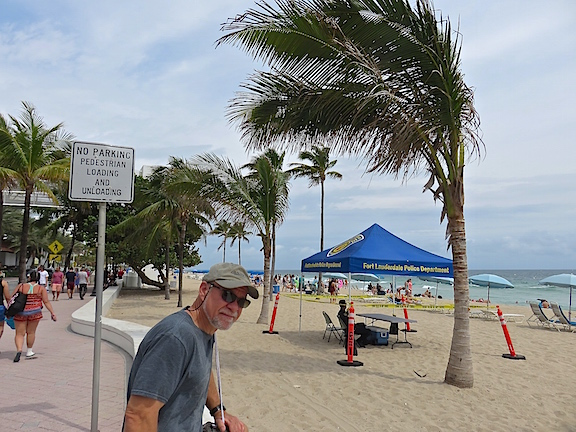 The beach was mostly deserted near the Ft. Lauderdale Police canopies.