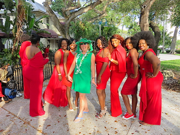 Karen joins the gals from Miami who bucked the green and made a splash in red for St. Pat's Party.
