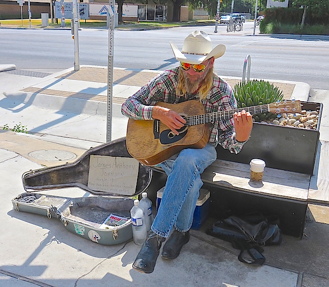 Austin is a music mecca. We ate lunch at the South Congress Cafe, which was excellent, but playing out front every day you'll find James Anthony Johnson. He is a street musician that strums guitar and sings here every day.