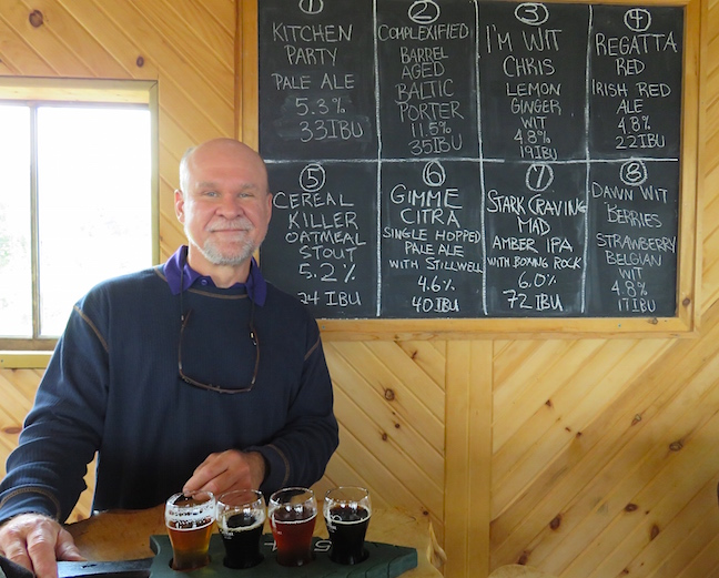We exited the Cabot Trail and headed inland along the west shore of Bras d′Or Lake. All that hiking made us thirsty and we stopped for a tasting flight at Big Spruce Brewing in Nyanza.