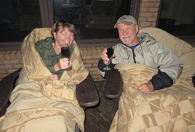 After the sun sank from site into the Atlantic, we paired our Luckett red wine with the chocolate eruption dessert, then settled in on the deck to reflect on our day. Carol swaddled us in plush blankets to ward off the night's chill before turning in. A perfect ending to another fun day.