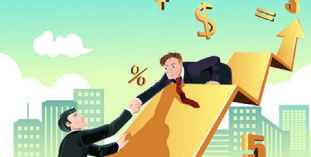 A vector illustration of a business concept of a businessman helping his colleague to achieve success together