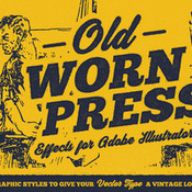 Old worn press illustrator styles icon