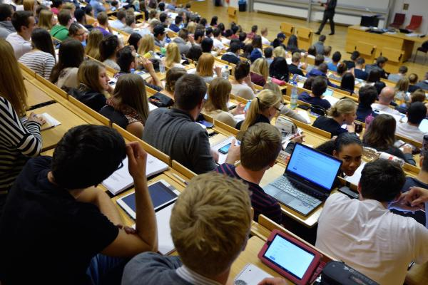 Laptops are common in lecture halls worldwide. Students hear a lecture at the Johann Wolfang Goethe-University on Oct. 13, 2014 in Frankfurt am Main, Germany.