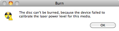 Mac OSX disc burning error