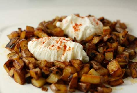Potato Hash with Poached Eggs