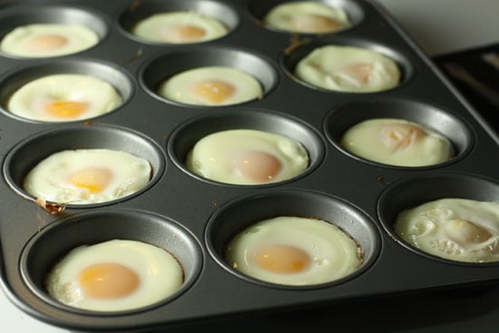 Eggs cooked for breakfast sandwiches