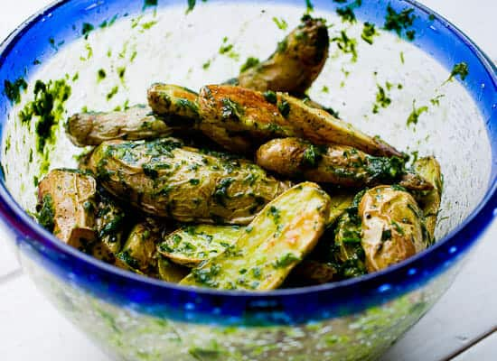 Roasted Fingerlings with Chive Pesto