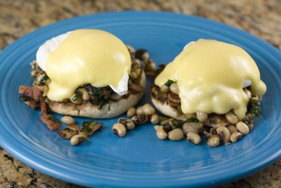 eggs on Black Eyed Pea Benedicts