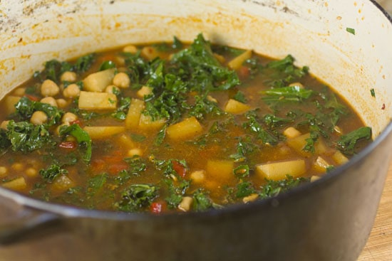 kale in Thirty Minute Chickpea Stew