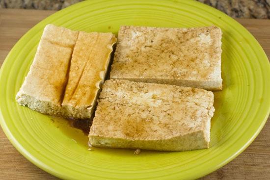 tofu marinating for Grilled Tofu Wraps
