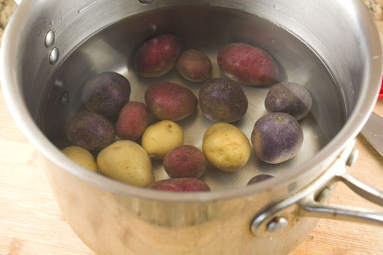 boiling potatoes for Steak and Potato Salad