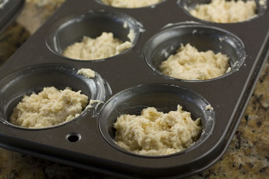 batter in tins - Coffee Cake Muffins