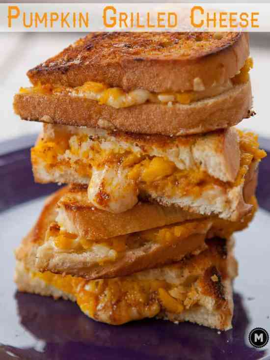 Pumpkin Grilled Cheese Sandwich - Fresh roasted pumpkin slathered with spices and gooey cheese in one of my favorite fall grilled cheeses.