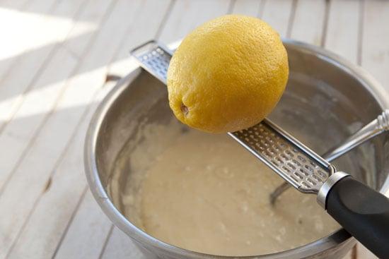 lemon going in batter for Date Waffles