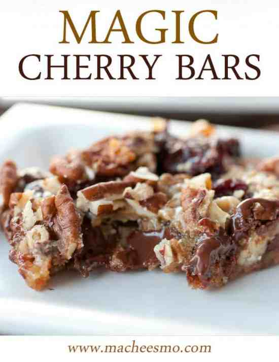 Gooey Chocolate Cherry Bars laced with dried cherries, chocolate, and pecans - Macheesmo