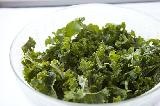 washed kale for Raspberry Kale Salad