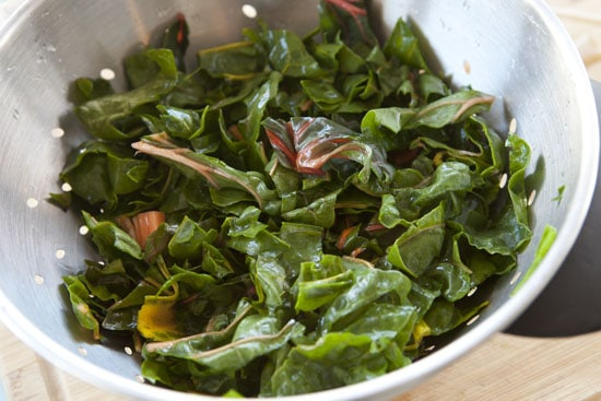 ripped chard for Sausage and Chard Calzones