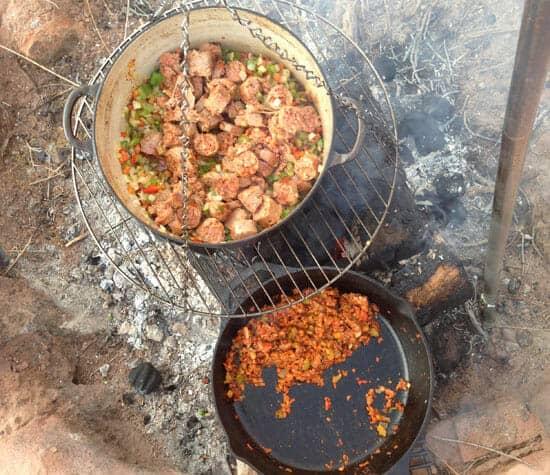 Campfire Jambalaya cooking