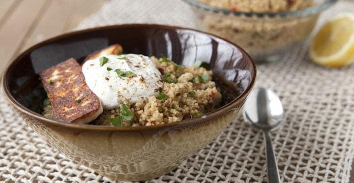 Fried Halloumi Couscous Bowl