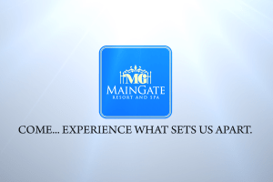 Sample frame from the logo animation in the MainGate Resort and Spa Kissimme resort video