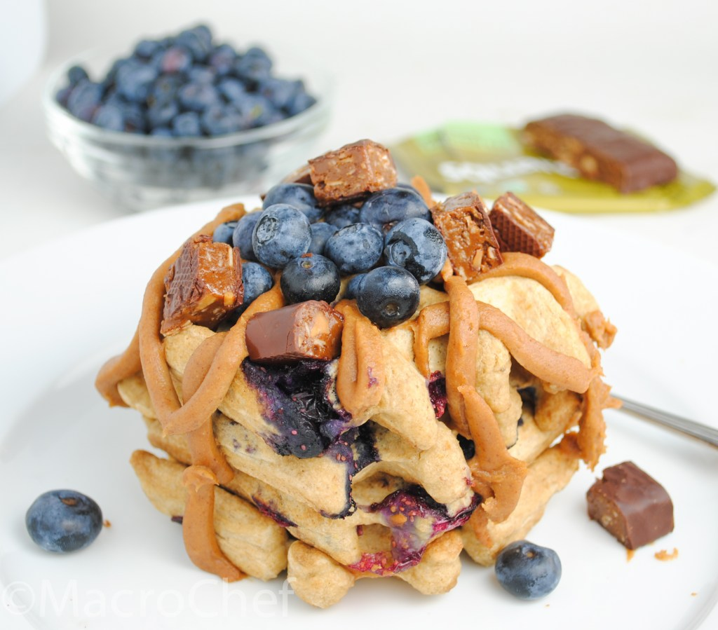 Blueberry Almond Butter Protein Waffles