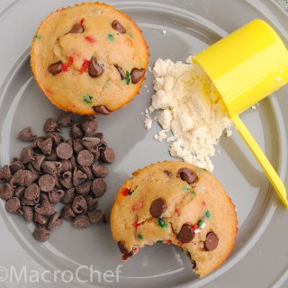 Chocolate Chip Christmas Protein Muffins