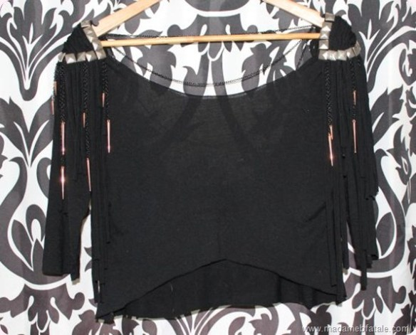 finished front chain stud and spike embellished top