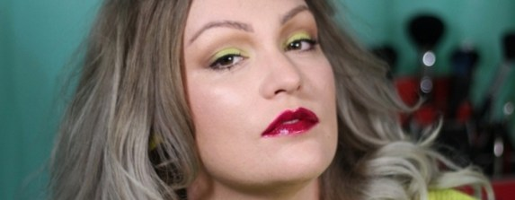 lime eye makeup neon cherry lips