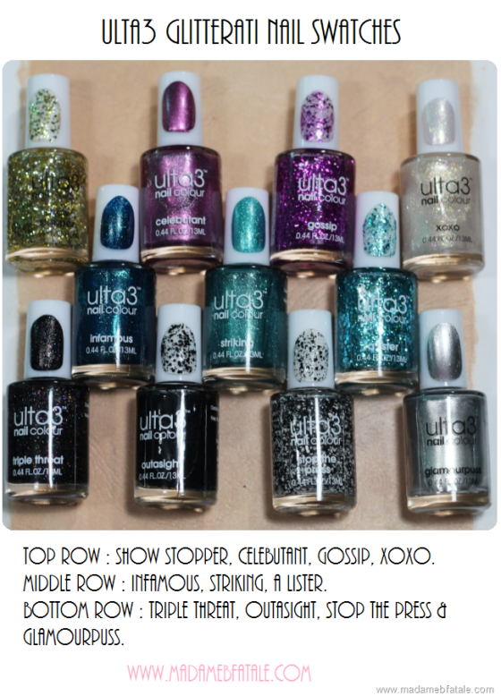 ulta3 glitterati nail swatches collection all