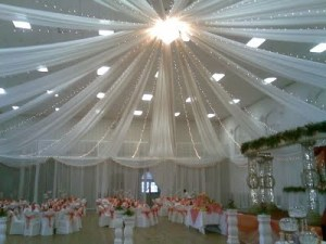 large white ceiling drape