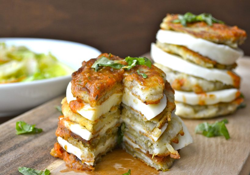 Eggplant and Mozzarella Stacks