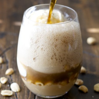 Dr Pepper Floats with Peanut Butter Fudge Sauce