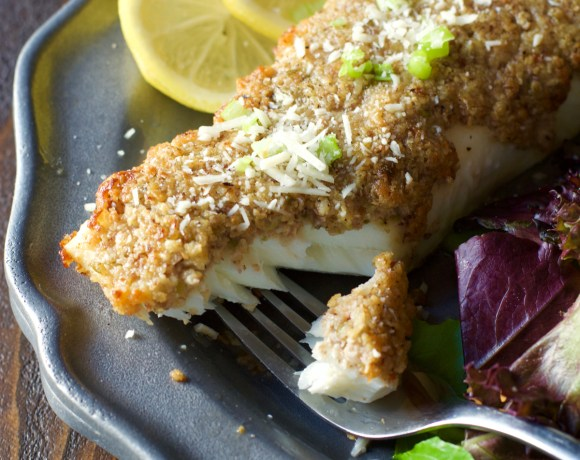 Parmesan and Pecan Crusted Halibut