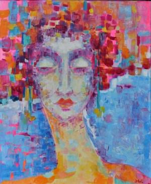 Obraz współczesny portret kobiety autorka Magdalena_Walulik_olej na płótnie