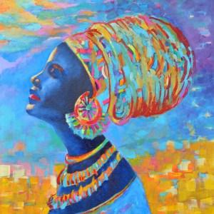 Obrazy Afryka postacie: obraz dziewczyna w turbanie